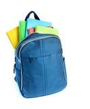 背景袋子蓝色飞行离开槭树学校 免版税库存照片