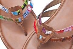 背景被回收的凉鞋 免版税库存图片