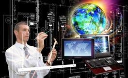 背景计算机查出的膝上型计算机现代技术白色 一代新的计算机科技 免版税库存图片