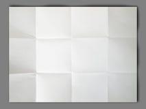 背景起皱纹的被折叠的灰色纸白色 图库摄影