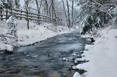 背景路雪冬天 库存图片