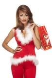 背景辅助工圣诞老人白色 图库摄影