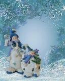 背景边界圣诞节雪人 免版税库存照片
