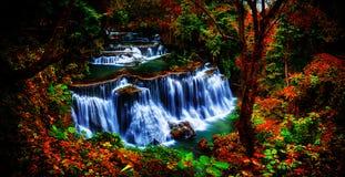 背景迷离和软的焦点Huay Mae Kamin瀑布在Thail 免版税图库摄影
