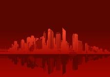 背景都市风景红色 向量例证