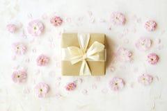 背景配件箱礼品粉红色范例空白文本的郁金香 容易的可移动的样品文本 免版税库存照片