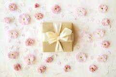 背景配件箱礼品粉红色范例空白文本的郁金香 容易的可移动的样品文本 库存照片