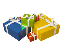 背景配件箱五颜六色的礼品白色 免版税图库摄影