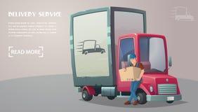 背景配件箱发运英俊查出在服务白色工作者 送货服务的雇员 减速火箭的卡车 免版税库存图片