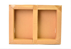 背景配件箱纸盒查出的白色 库存图片