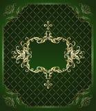 背景金子绿色装饰品 免版税库存照片