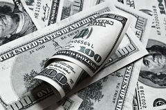 背景钞票美元一百一卷 图库摄影