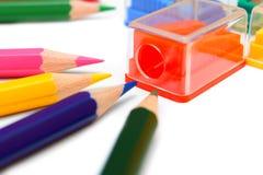 背景铅笔刀白色 免版税库存图片