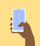 背景银行现有量藏品注意smartphone 在平的设计样式的传染媒介例证 免版税图库摄影