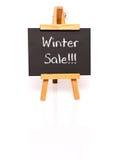 背景销售额文本向量冬天 有文本和画架的黑板 图库摄影