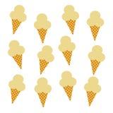 背景锥体在模式白色的奶油冰 库存图片