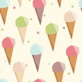 背景锥体在模式白色的奶油冰 免版税库存图片