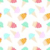 背景锥体在模式白色的奶油冰 图库摄影
