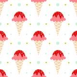 背景锥体在模式白色的奶油冰 免版税库存照片
