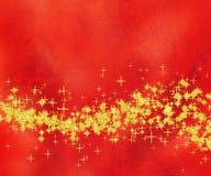 背景闪光金黄红色星形通知 免版税图库摄影
