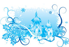 背景降雪的冬天 库存照片