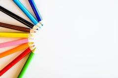 背景颜色上色了查出的铅笔铅笔空白 关闭 复制空间 免版税图库摄影