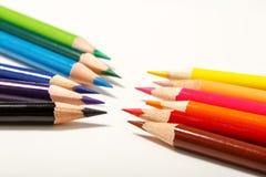背景颜色上色了查出的铅笔铅笔空白 关闭 免版税库存图片