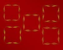 背景颜色黑暗的装饰框架金子红色 免版税库存图片