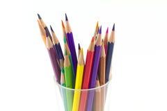 背景颜色玻璃铅笔白色 免版税库存照片