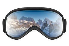 背景风镜查出山反映滑雪白色 免版税图库摄影