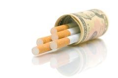 背景香烟美元s u白色 免版税库存图片