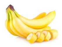背景香蕉束查出的白色 免版税库存图片