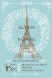 背景高雅重点邀请浪漫符号温暖的婚礼 埃佛尔铁塔,雪花花圈 库存照片