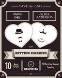 背景高雅重点邀请浪漫符号温暖的婚礼 葡萄酒卡片模板 免版税库存照片