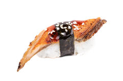 背景鳗鱼油煎的nigiri寿司白色 库存照片