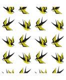 背景鸟聚集在无缝的燕子纹理向量白色 库存图片