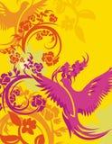 背景鸟花卉系列 皇族释放例证