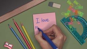 背景黑名册概念copyspace学校 妇女递我爱我的笔记薄的老师的文字 股票视频