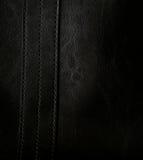 背景黑色关闭皮革构造  免版税图库摄影