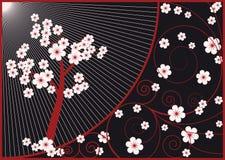背景黑色开花的棕色结构树 图库摄影