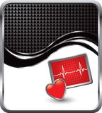 背景黑色方格的心脏监护器通知 库存照片