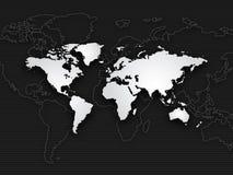 背景黑色映射白色世界 免版税图库摄影