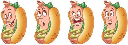 背景黑色瓶尾随热图象查出的番茄酱芥末 美国热狗 快餐概念 库存例证