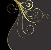 背景黑色花卉金子 图库摄影