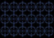 背景黑色蓝色花卉 免版税库存照片