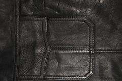 背景,皮革衣物纹理,一黑皮夹克的一个口袋 免版税库存照片