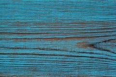 背景,美丽的木头纹理,人工老化的被绘的蓝色颜色 图库摄影