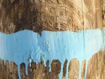 背景绘了木 蓝色油漆条纹在木头的 老表面木头 油漆与蓝色 蓝色油漆污点在的 免版税库存照片