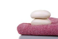 背景洁净健康查出承诺肥皂毛巾白色 免版税库存照片