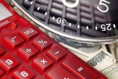背景绘制财务oer笔报表白色 时间是金钱和财富 企业概念想法货币运算时间 图库摄影